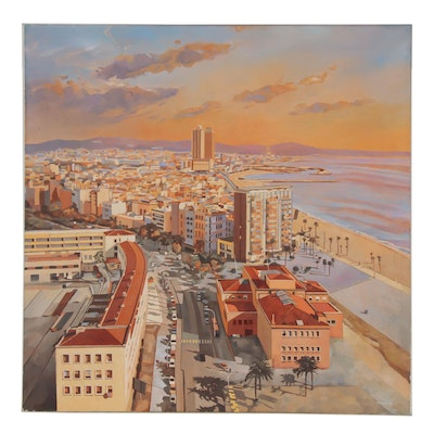 N. Walsh Oil Painting of Coastal Cityscape at Sunset, 2002