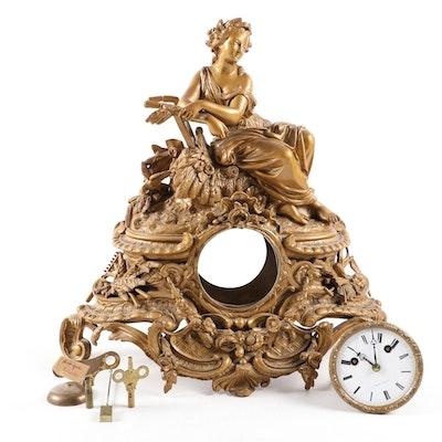 "Leroy Gilt Metal ""Demeter"" Mantel Clock, 19th Century"
