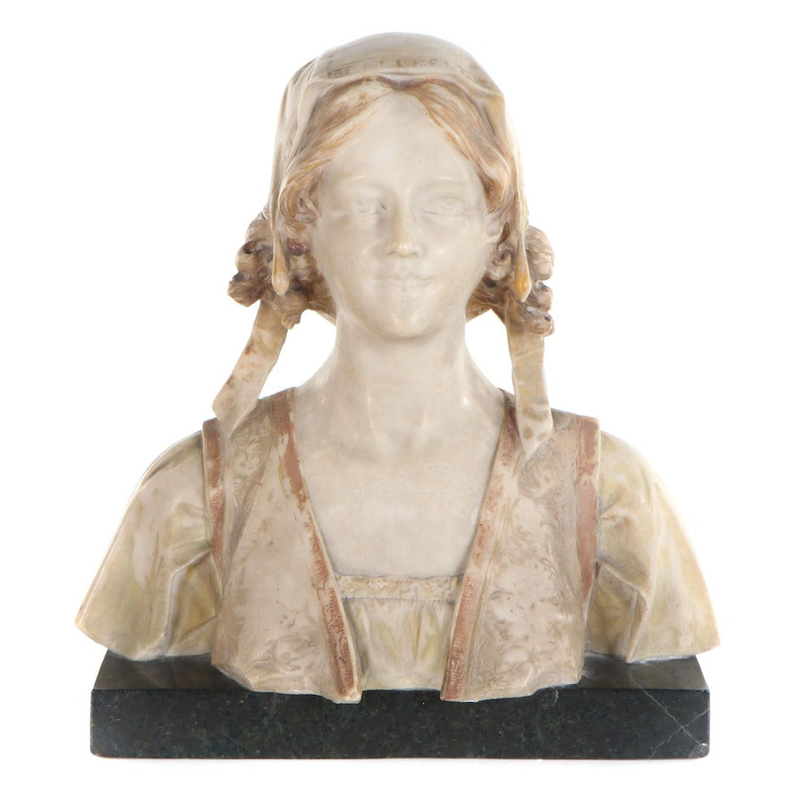 Painted Marble Bust of Young Maiden, Early 20th Century