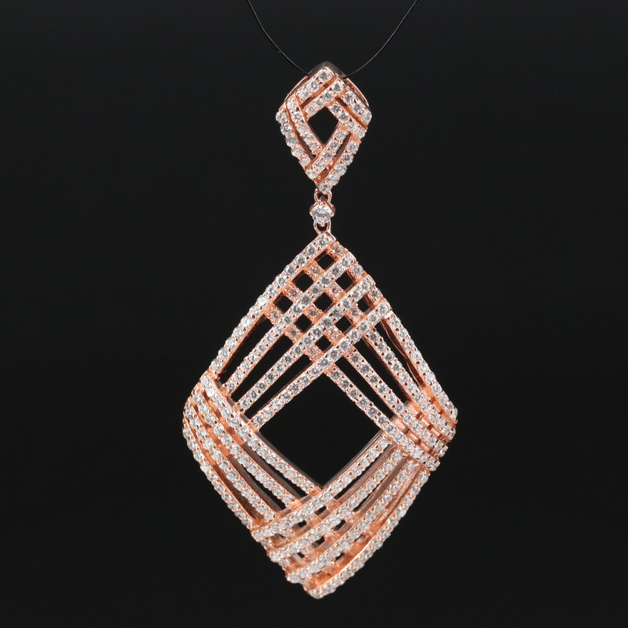 Sterling Silver Cubic Zirconia Geometric Pendant