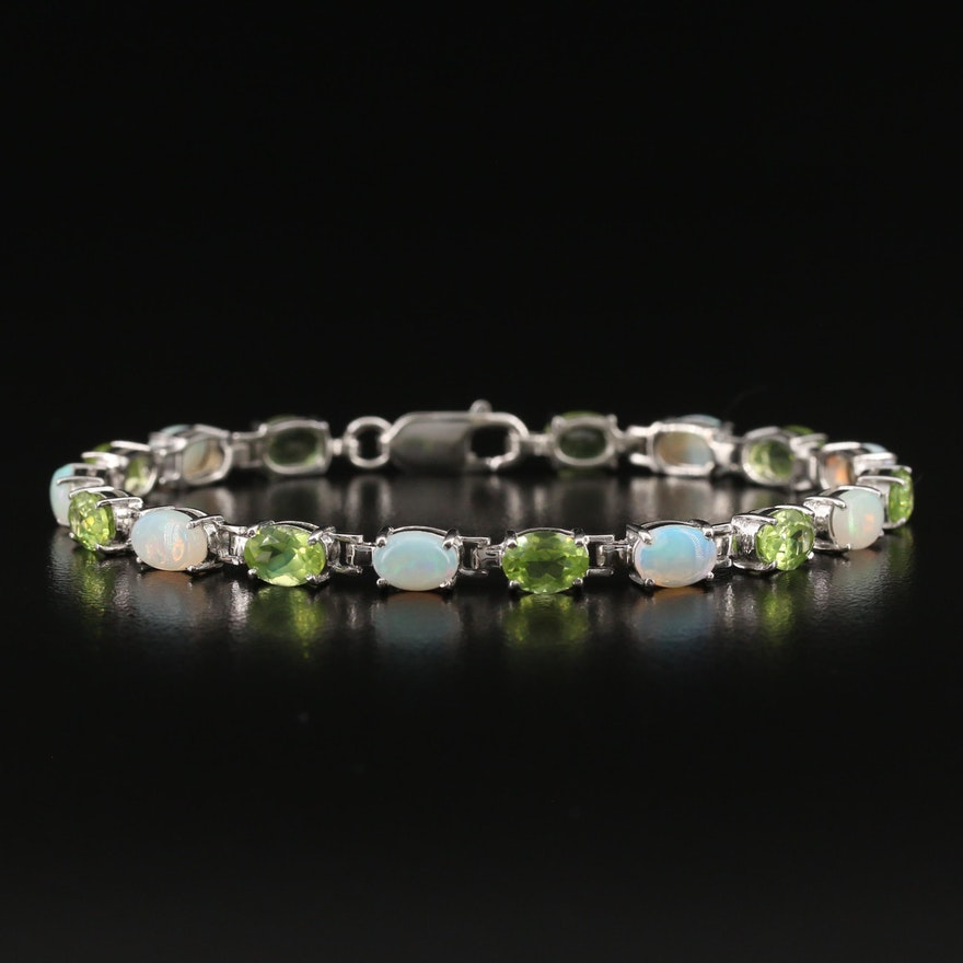 Sterling Silver Opal and Peridot Line Bracelet