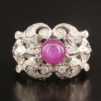 Platinum 2.59 CT Star Ruby and Diamond Ring with Scroll Pattern