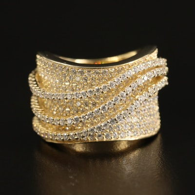 Sterling Cubic Zirconia Wave Concave Ring