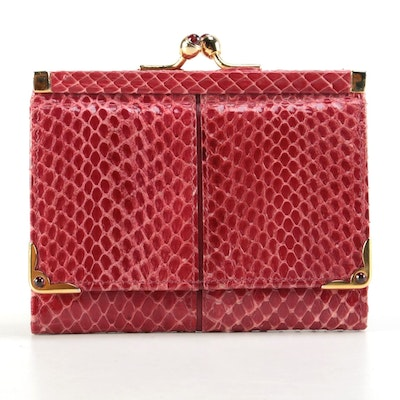 Judith Leiber Red Snakeskin Compact Kiss Lock Wallet, Late 20th Century