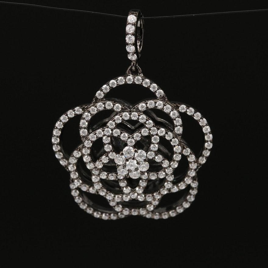 Sterling Cubic Zirconia Openwork Flower Pendant