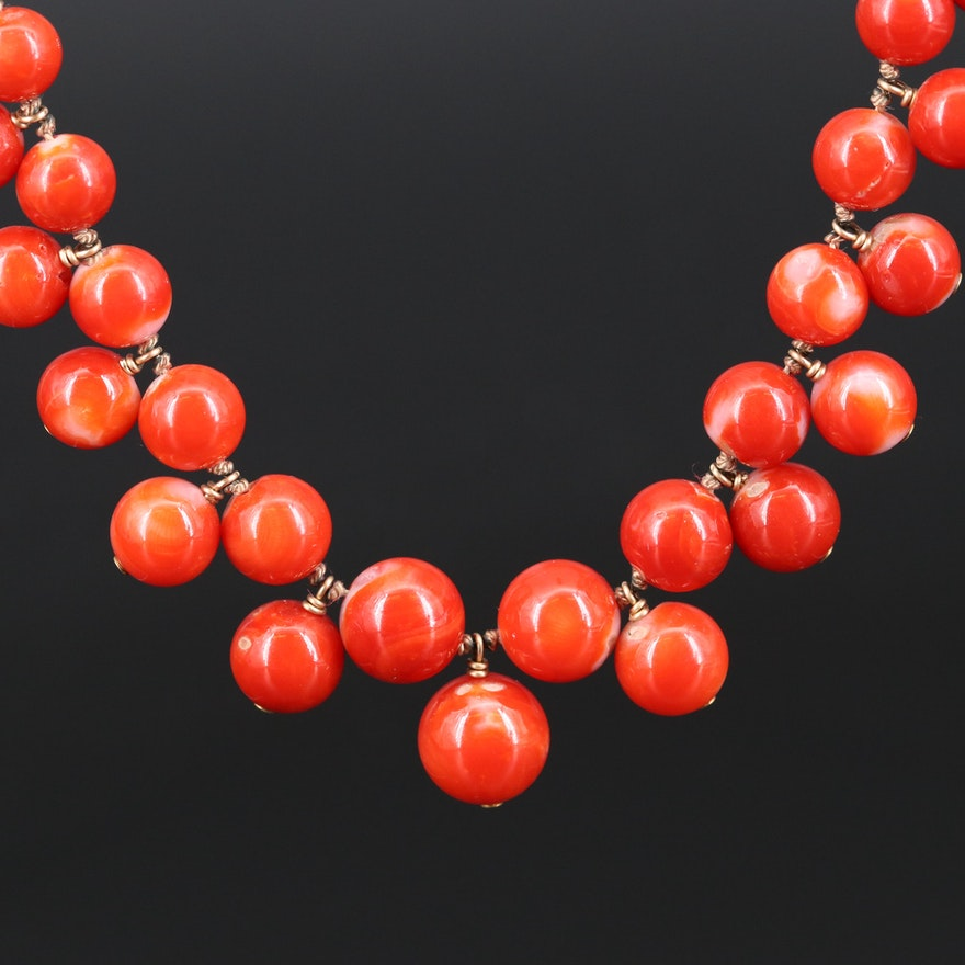 Coral Beaded Necklace with 18K Hook