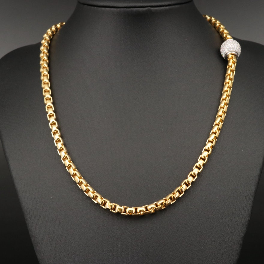 Sterling Box Link Necklace with Cubic Zirconia Clasp