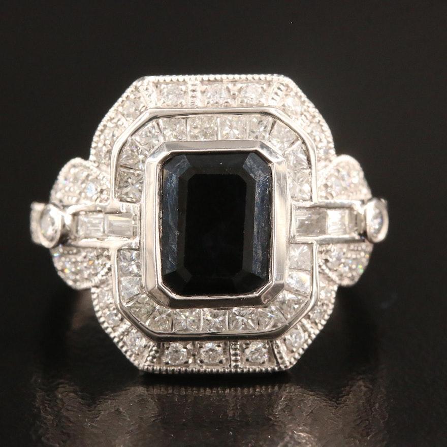 Platinum 2.75 CT Sapphire and 1.17 CTW Diamond Ring