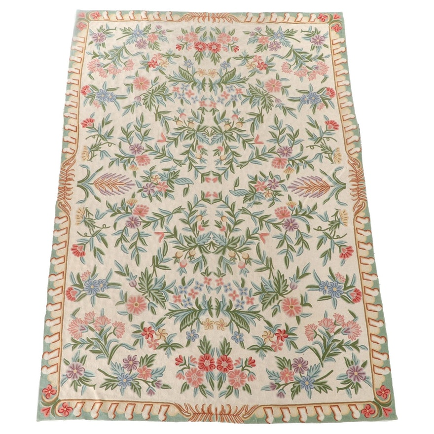 5'11 x 8'10 Hand-Embroidered Indian Kashmiri Chain Stitch Floral Area Rug