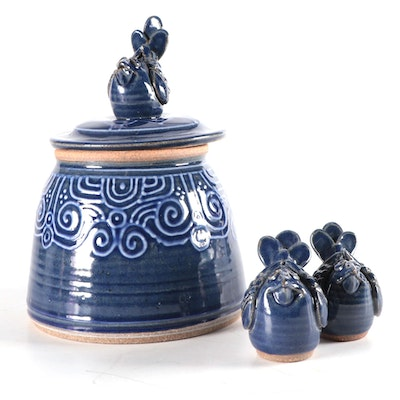 Glazed Stoneware Cookie Jar with Bird Finial with Salt and Pepper Shakers