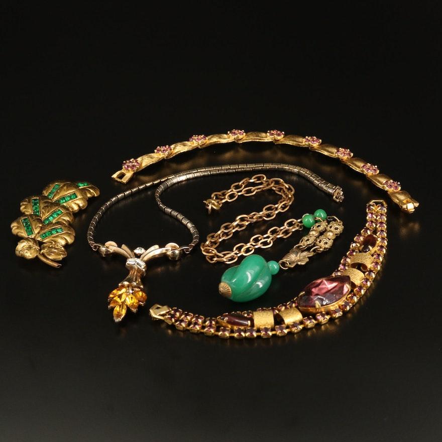 Vintage Rhinestone Jewelry Featuring Crown Trifari