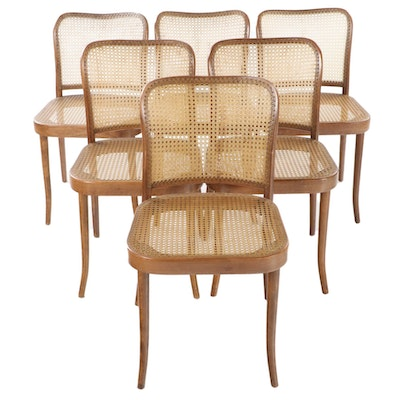 "Six Stendig ""Prague"" Modernist Bent Beech and Caned Side Chairs"