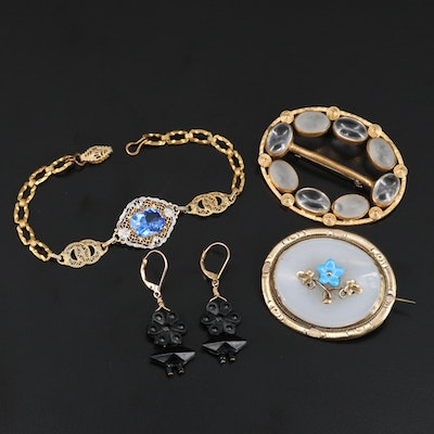 Vintage Jewelry Including French Jet, Opaline and Czech Glass