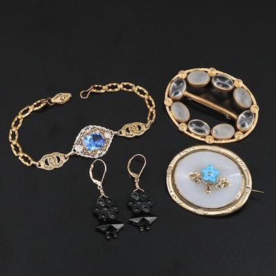 Vintage Jewelry Including French Jet, Opaline and Czech Glass
