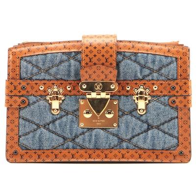 Louis Vuitton Denim Malletage Trunk Clutch with Monogram Leather