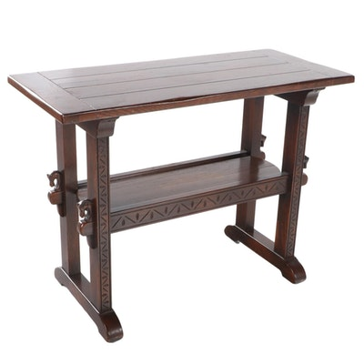 Romweber Viking Oak Two-Tier Console Table, 20th Century