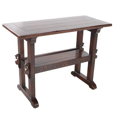 Romweber Viking Oak Two-Tier Console Table, 20th Century
