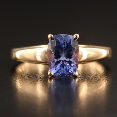 9K Rectangular Faceted Tanzanite Solitaire Ring