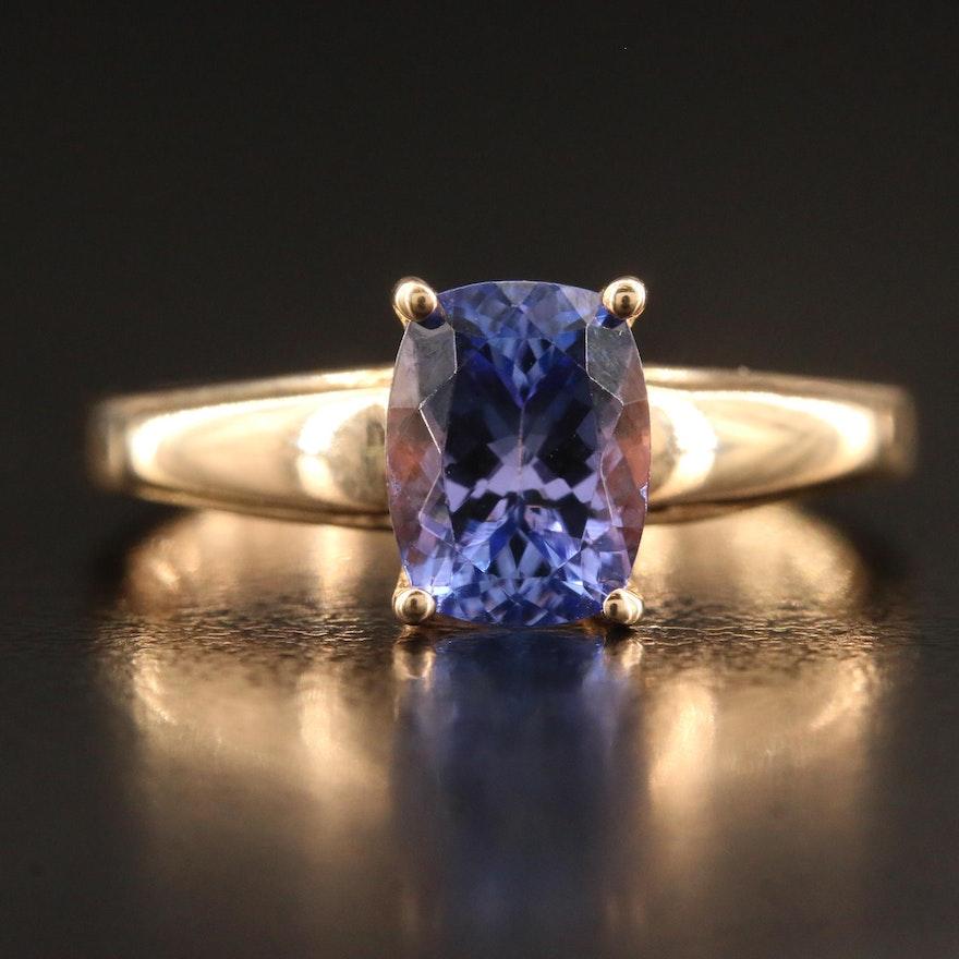 9K Rectangular Faceted Tanzanite Solitaire Ring