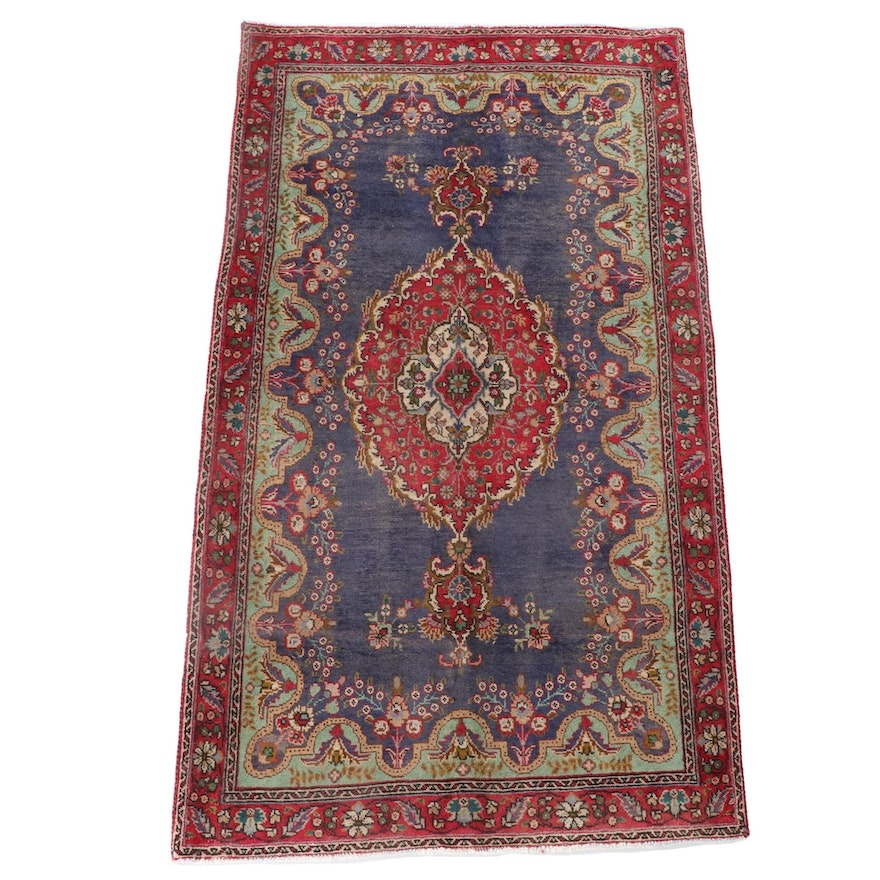 4'0 x 7'0 Hand-Knotted Persian Kashan Wool Area Rug
