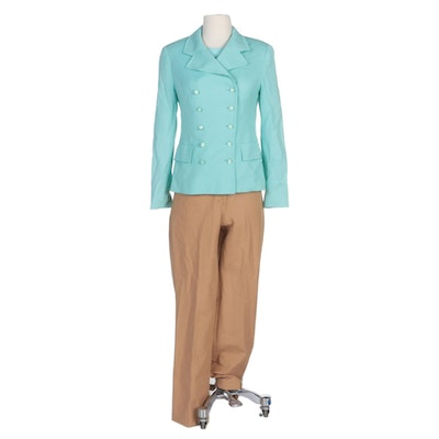 Escada Mint Cream Wool Jacket and Italian Knit Top with Tan Jean Style Pants