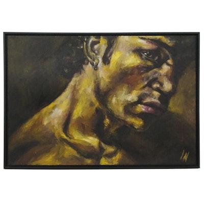 "Laurence Nerbonne Monumental Oil Painting ""Felin I,"" 21st Century"