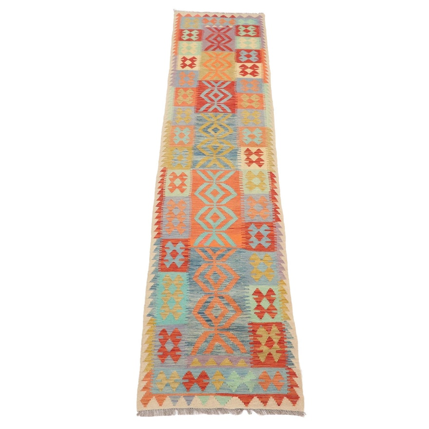 2'7 x 13'1 Handwoven Turkish Village Kilim Carpet Runner, 2010s