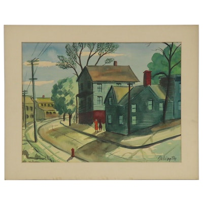 Watercolor Painting of Neighborhood Street Scene, Late 20th century