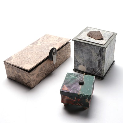 Artist Signed Hand-Made Decorative Boxes, 21st Century