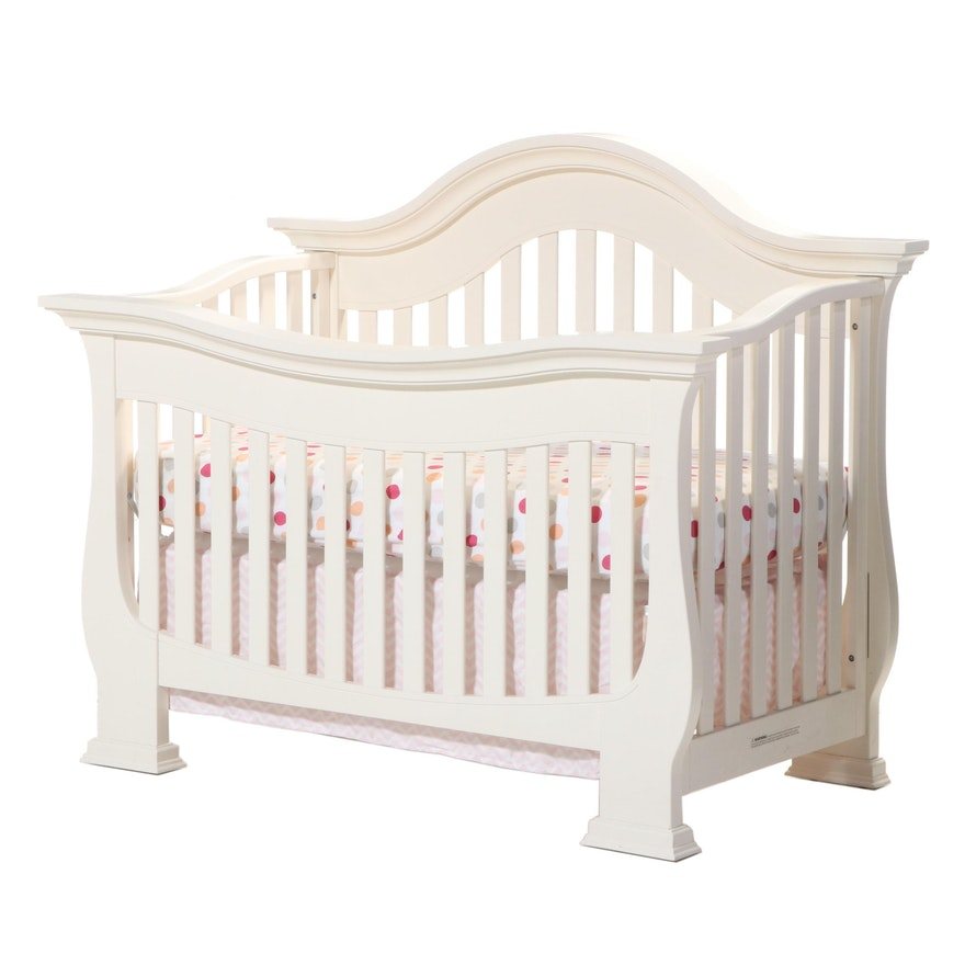 Contemporary Painted Wood Transitional Crib To Toddler Bed