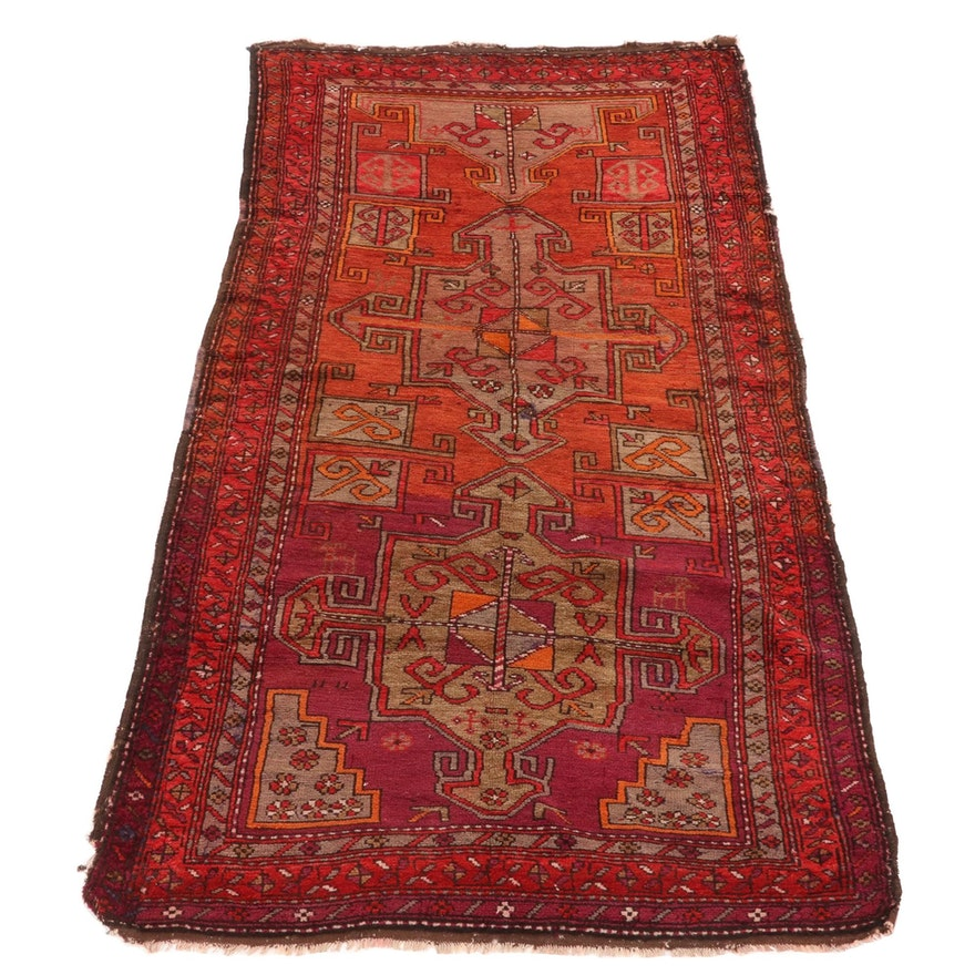 3'8 x 7'8 Hand-Knotted Caucasian Kazak Pictorial Carpet Runner, 1930s