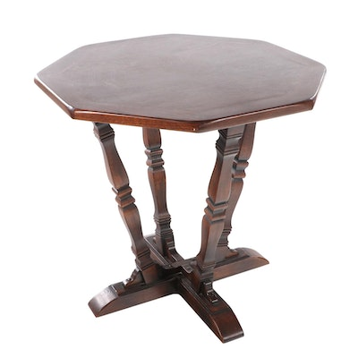 Romweber Oak Cross-Base and Octagonal Top Table, 20th Century