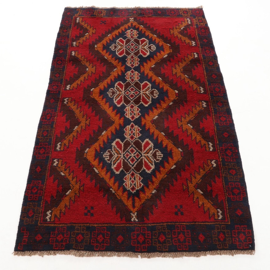 3'5 x 6'2 Hand-Knotted Afghan Turkmen Rug, 2000s