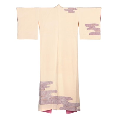 Kumo Textured Kobune Nautical Scene Yuzen Resist Dyed Hōmongi Kimono, Showa Era