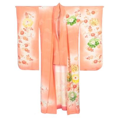 Ombré Pink Kiku and Botan Yuzen Dyed Furisode Kimono