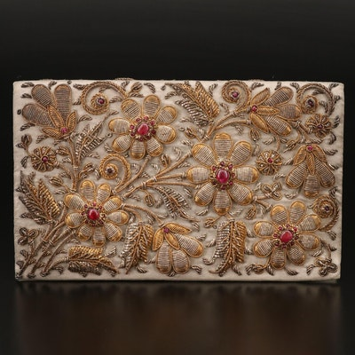 Ganeshi Lall & Son Ruby Embellished Floral Cord Clutch, Mid 20th Century