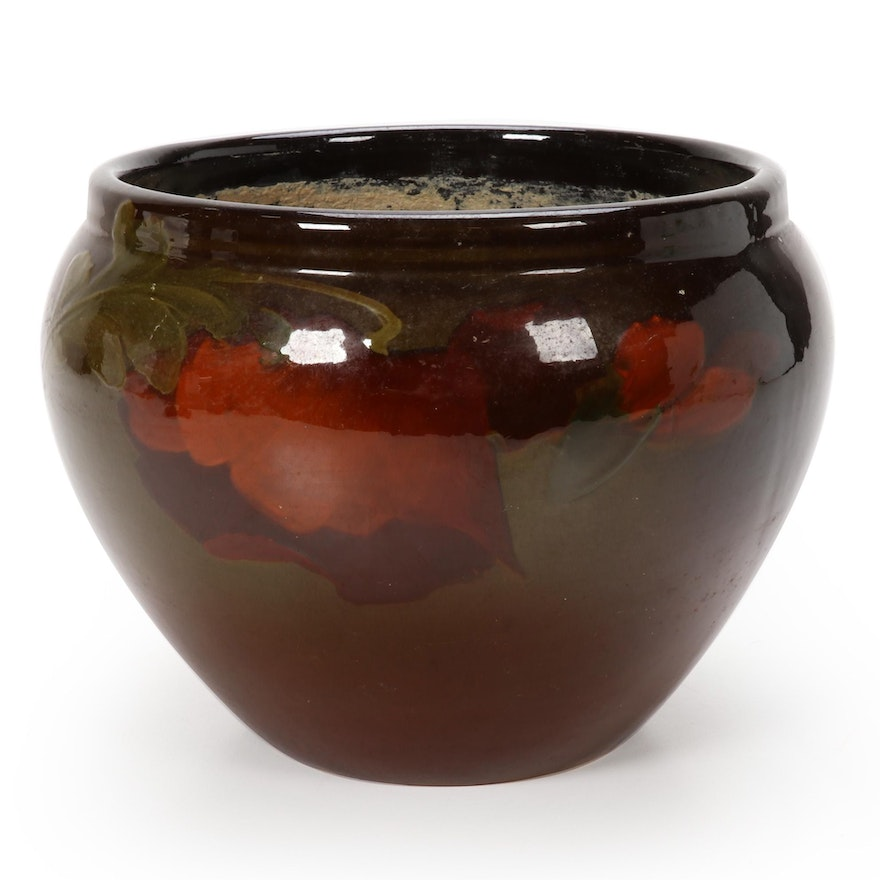 Weller Pottery Standard Glaze Poppy Jardiniere Planter, Early 20th Century