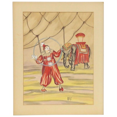 Watercolor Painting of Circus Clowns, Late 20th Century