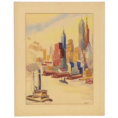 Coastal Cityscape Watercolor Painting, Late 20th Century
