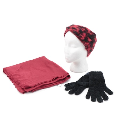 DKNY Cheetah Pattern Headband, INC Scarf and Charter Club Gloves
