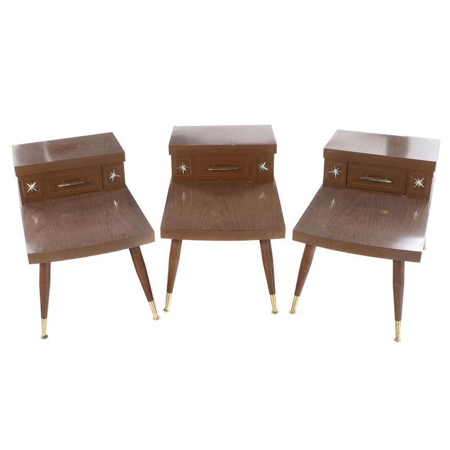Three Mid Century Modern Walnut-Grained Laminate Stepback Side Tables