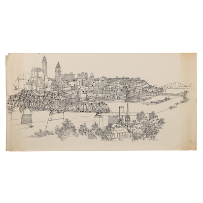 McMahon Lithograph of Cityscape Aerial View, Late 20th Century