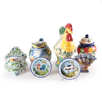 Portuguese Tulipiere and other Hand-Painted Italian Pottery