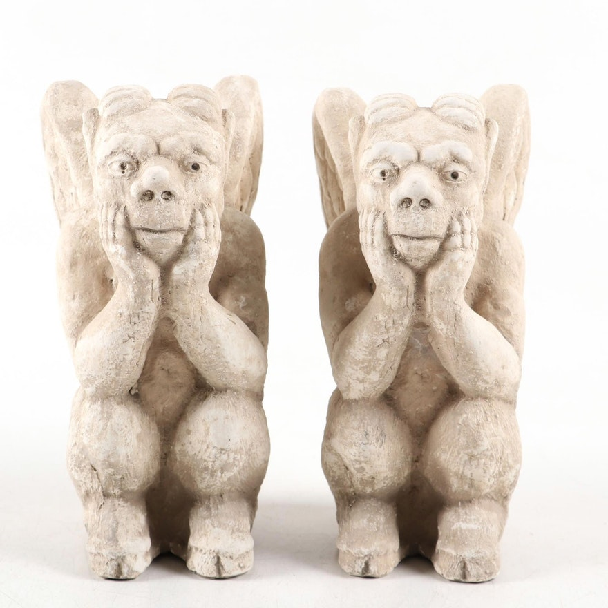 Pair of Ceramic Gargoyle Figurines