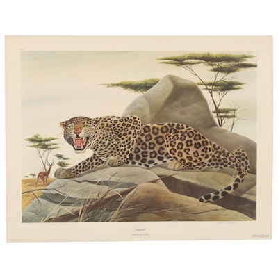 "John A. Ruthven Offset Lithograph ""Leopard,"" Late 20th Century"