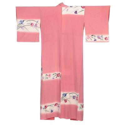Rose Pink Chirimen Silk Floral Hand-Painted and Yuzen Dyed Hōmongi, Showa Era