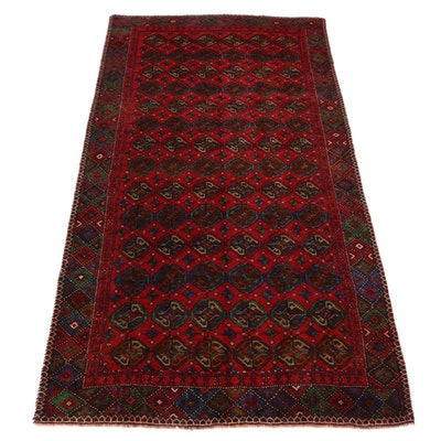 5'2 x 10'4 Hand-Knotted Persian Turkmen Area Rug, 1970s