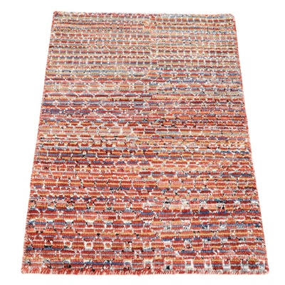 2' x 3' Hand-Knotted Indian Bamboo Silk Accent Rug, 2010s