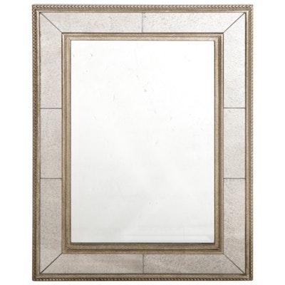 Rectangular Beveled Wall Mirror with Beaded Metallic Frame