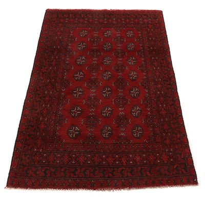 3'11 x 5'11 Hand-Knotted Afghan Turkmen Accent Rug, 2000s